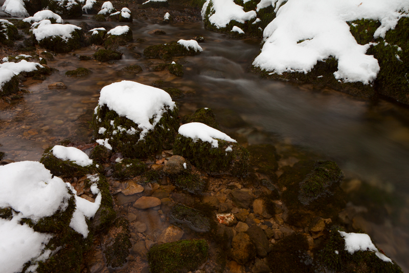 Snow covered rocks, Gordale Beck.